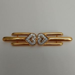 Vintage Monet Gold-tone Bar Double Heart Pin